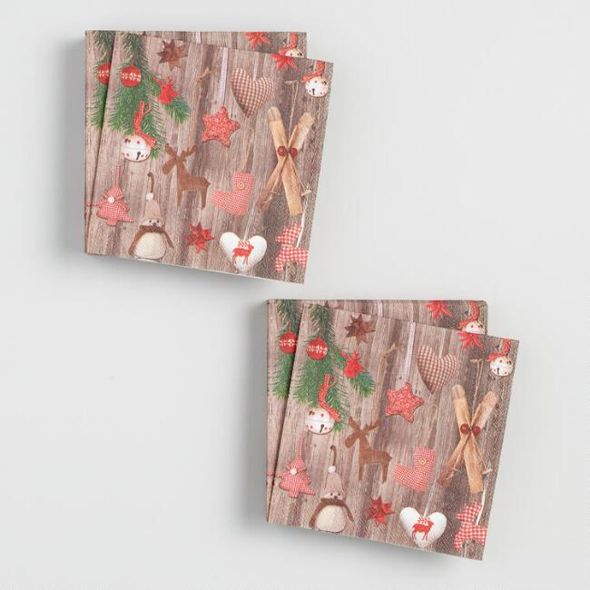 Holiday Icons on Wood Grain Beverage Napkins Set of 2