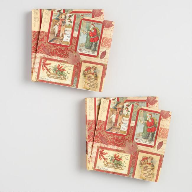 Seasons Stamp Lunch Napkins Set of 2