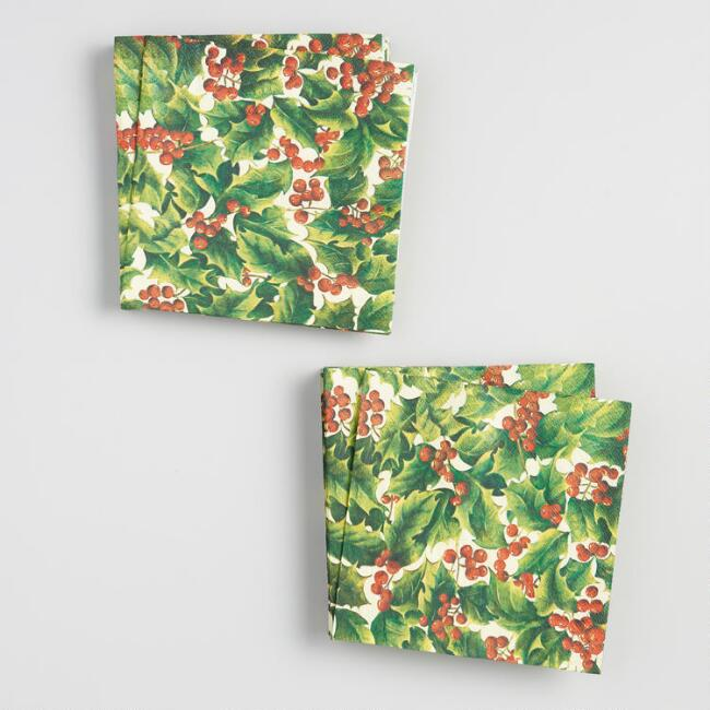 Cream Holly Lunch Napkins Set of 2
