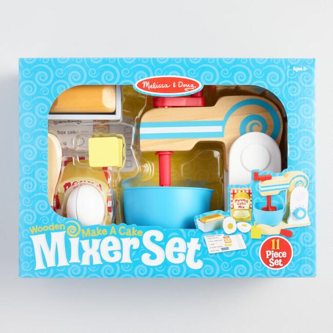 Melissa and Doug Wood 11 Piece Make a Cake Mixer Kit