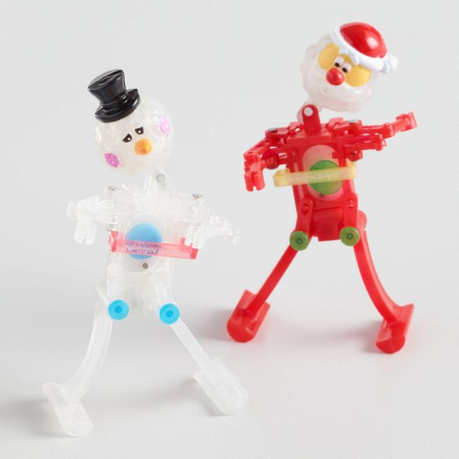 Santa and Snowman Jingle Bops Wind Up Dancing Toys Set of 2