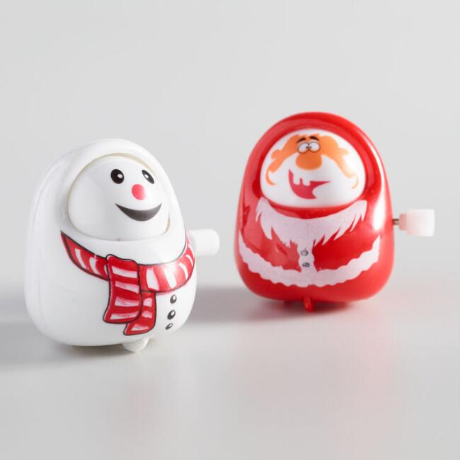 Santa Claus and Snowman Windup Toys Set of 2