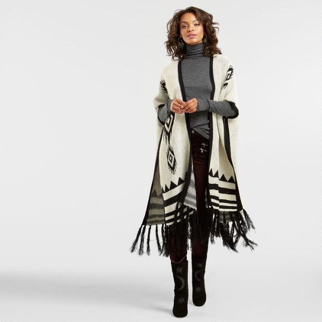 Black and White Knit Southwest Wrap