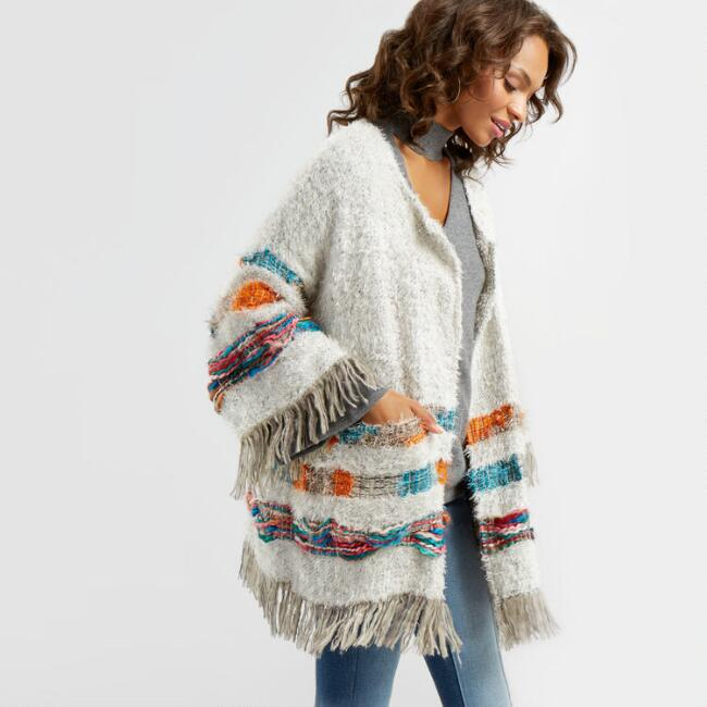 Multicolor Stitched Emilia Open Front Cardigan