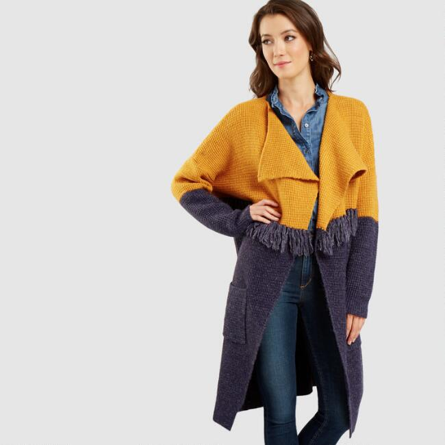 Purple and Mustard Colorblock Open Front Sweater
