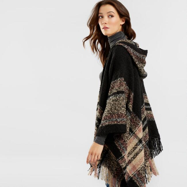 Black Hooded Striped Boucle Wrap