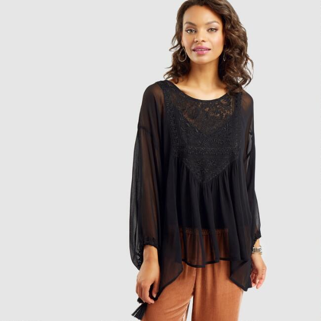 Black Embroidered Amy Top