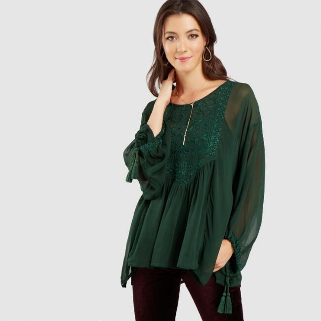 Green Embroidered Amy Top
