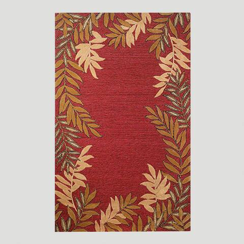 Red Fern Border Indoor-Outdoor Rug | World Market - photo#22