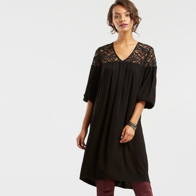 Black Lace Yoke Dress