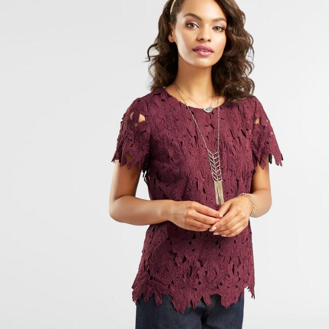 Wine Lace Short Sleeve Top