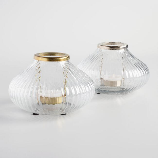 Brass and Silver Glass Onion Tealight Candleholders Set of 2