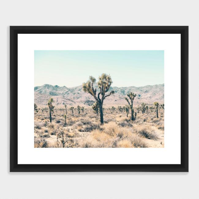 Serene Joshua Trees Wall Art in Black Frame