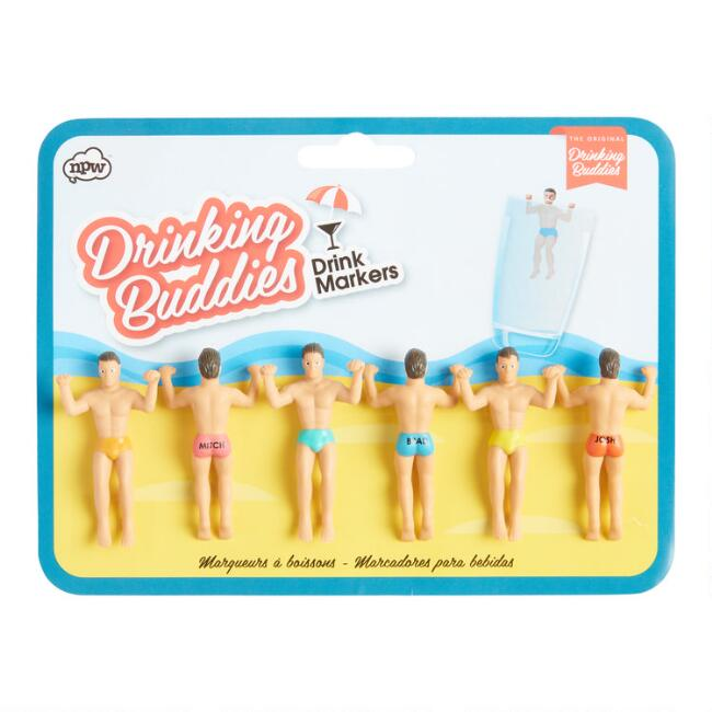 Drinking Buddies Glass Markers 6 Pack