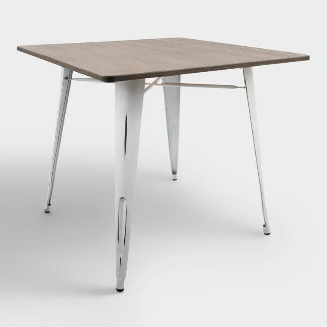 Square White Metal and Espresso Wood Ridgeby Dining Table