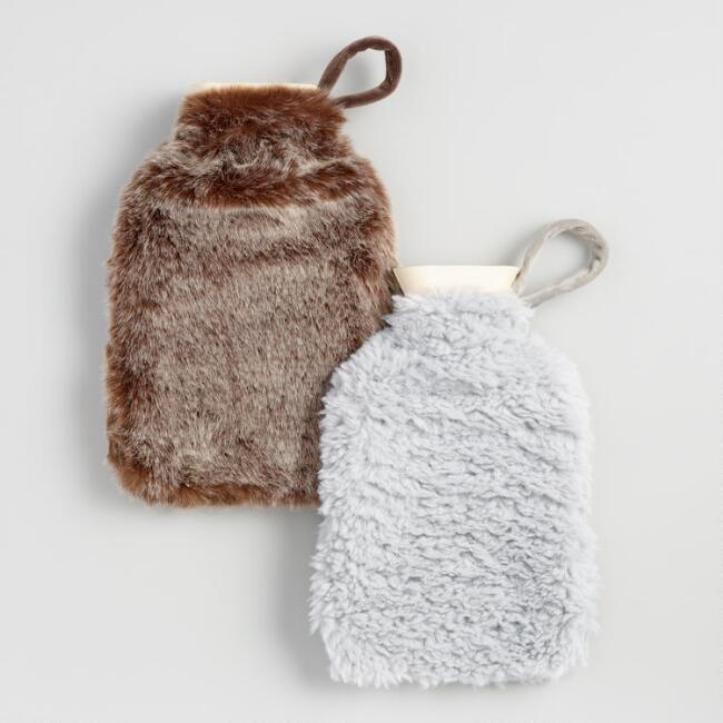 Brown and Gray Faux Fur Hot Water Bottles Set Of 2