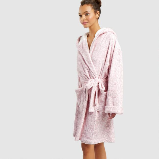 Lavender Geo Fleece Robe with Sherpa Hood