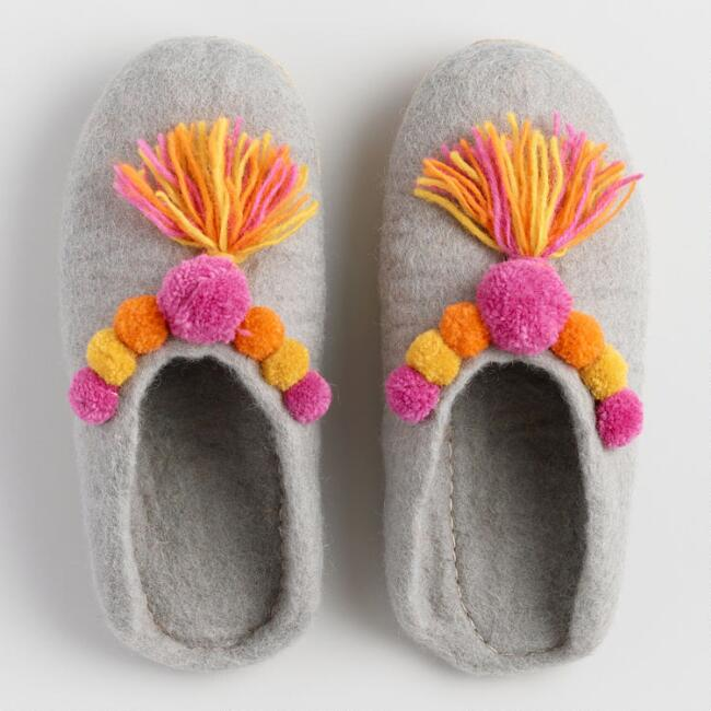 Gray Wool Felt Pom Pom Slippers