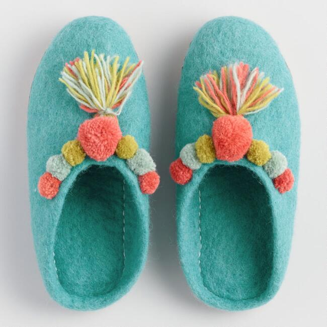 Teal Wool Felt Pom Pom Slippers