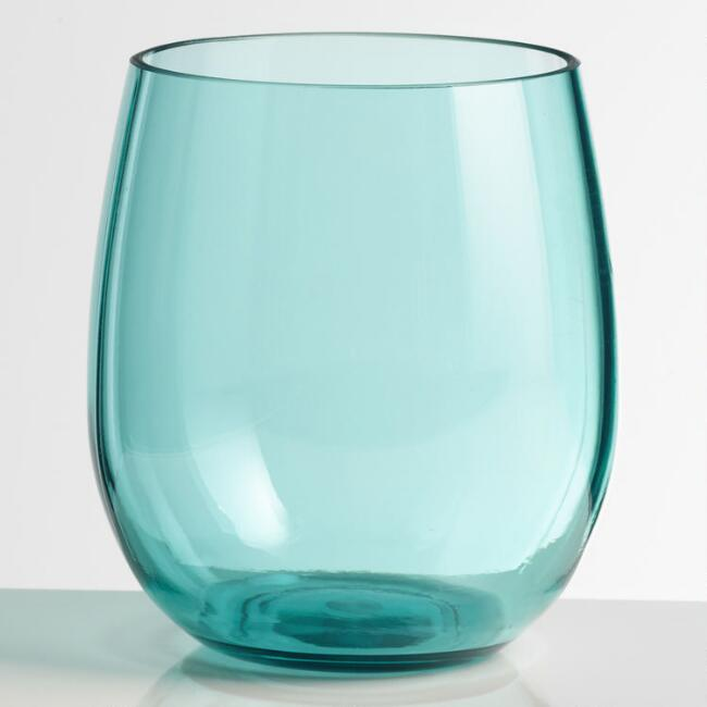 Aqua Acrylic Stemless Wine Glasses Set of 4