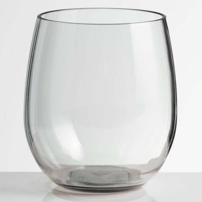 Gray Acrylic Stemless Wine Glasses Set of 4