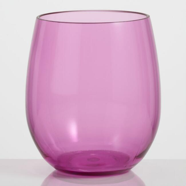 Pink Acrylic Stemless Wine Glasses Set of 4