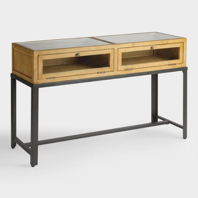 Gray Wood and Glass Syena Display Console Table
