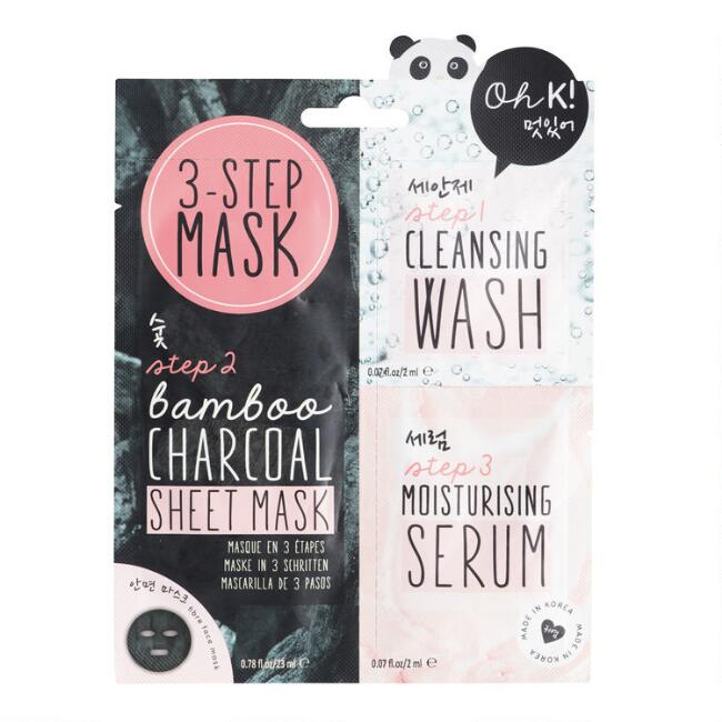 Oh K! Bamboo Charcoal 3 Step Korean Beauty Mask Set of 2