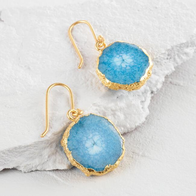 Gold and Green Druzy Drop Earrings