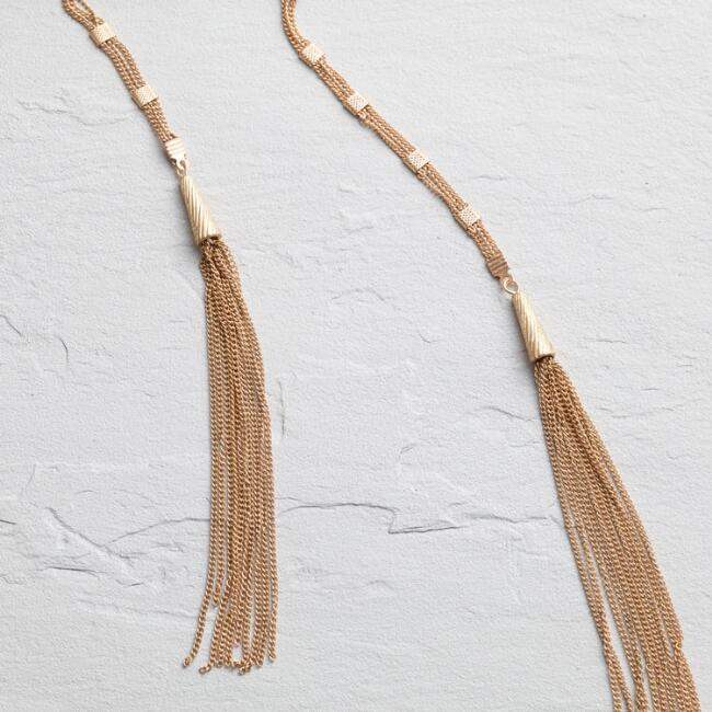 Gold Chain Tassel Choker Necklace