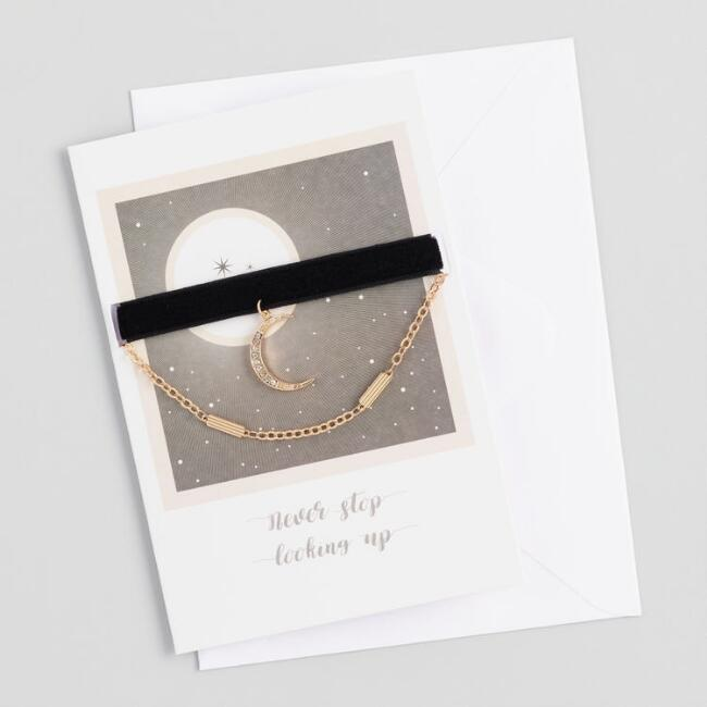 Gold and Velvet Choker Necklaces Gift Set with Greeting Card