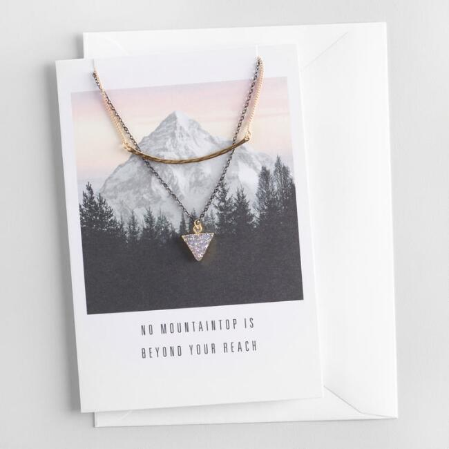 Bar and Druzy Necklaces Gift Set with Greeting Card