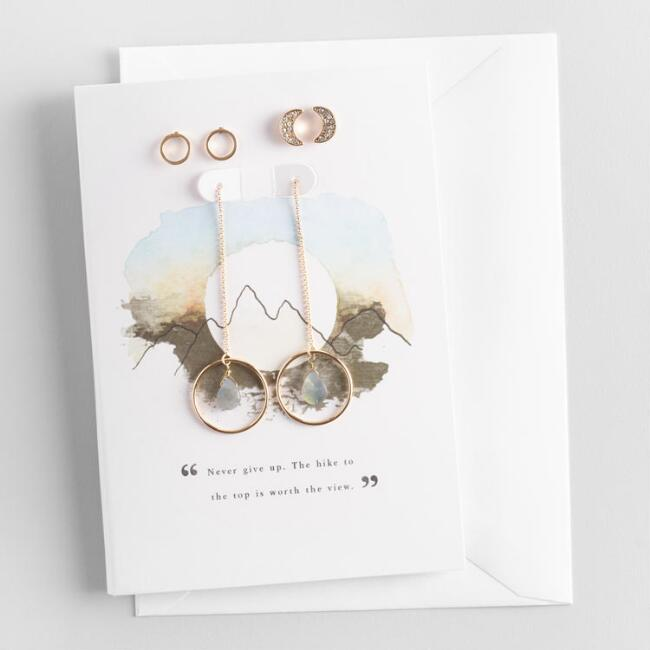 Gold and Labradorite Earrings Gift Set with Greeting Card