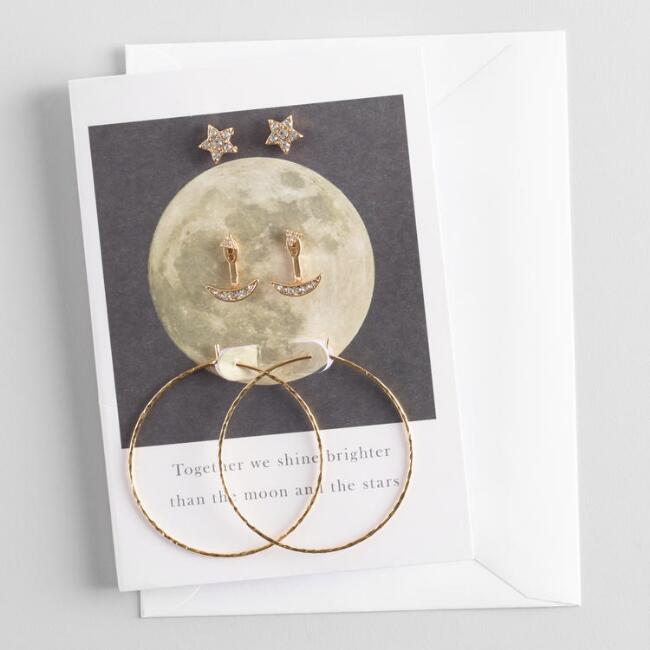 Star and Moon Earrings Gift Set with Greeting Card