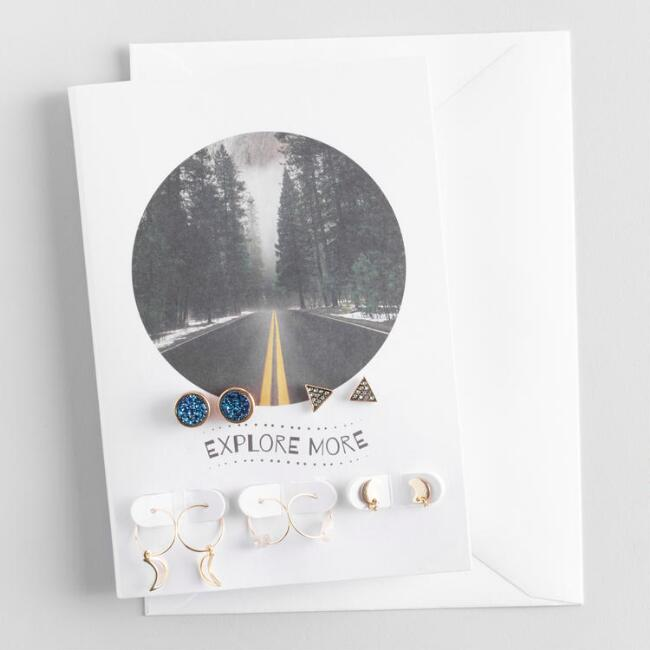 Blue Stone and Quartz Earrings Gift Set with Greeting Card