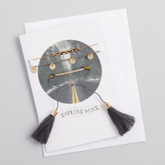 Chain and tassel bracelets gift set with greeting card world market m4hsunfo