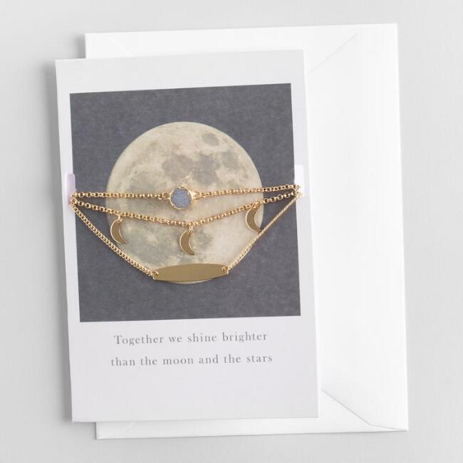 Moon and Druzy Choker Necklaces Gift Set with Greeting Card