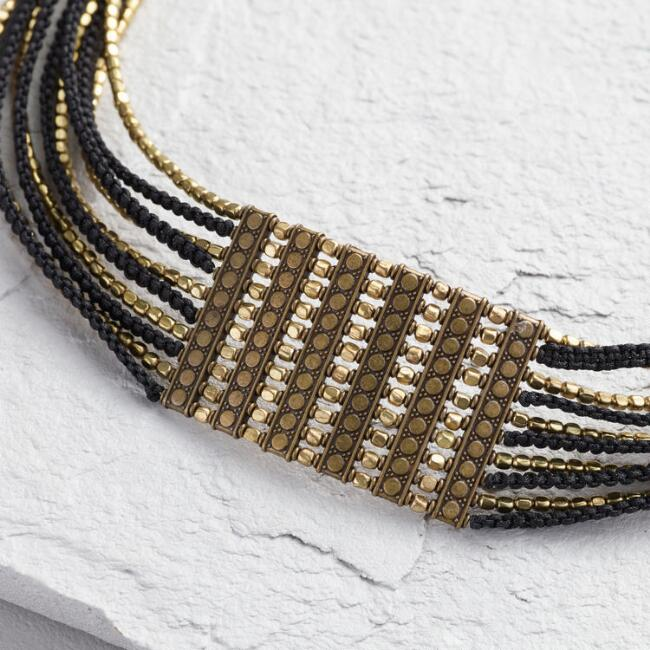 Gold Bead and Black Cord Collar Necklace