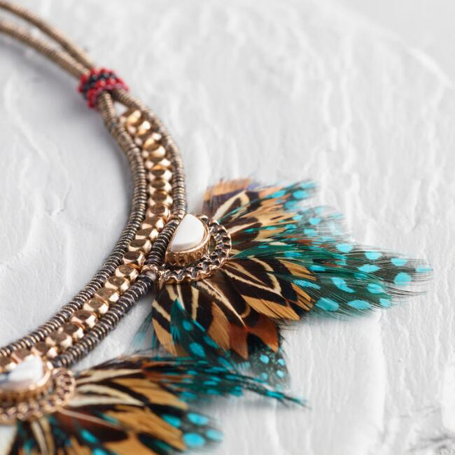 Teal Feather Statement Necklace