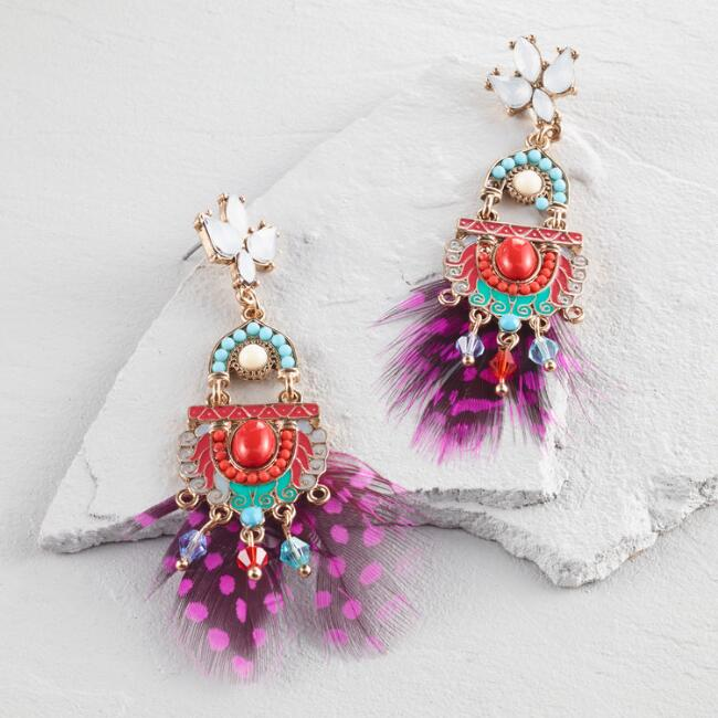 Pink Feather Statement Earrings