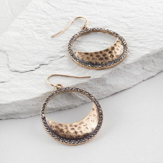 Gold and Hematite Pave Circle Earrings