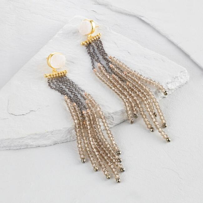 Druzy and Beaded Chain Tassel Earrings