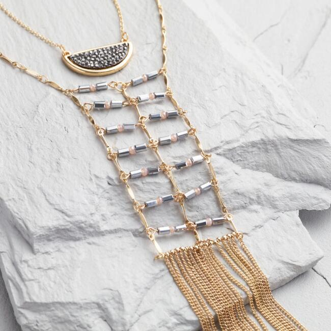 Gold and Hematite 2 Layer Chevron Chain Necklace