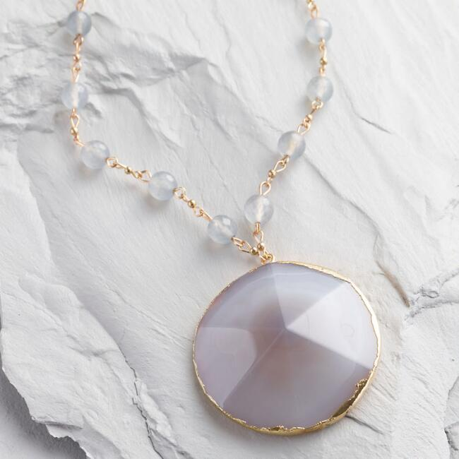 Agate Bead and Pendant Necklace