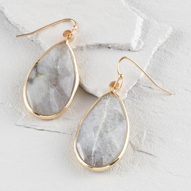 Gold Semi Precious Agate Drop Earrings