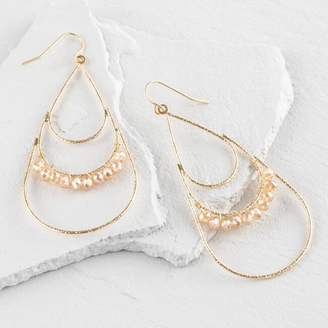Gold and Champagne Crystal Teardrop Earrings