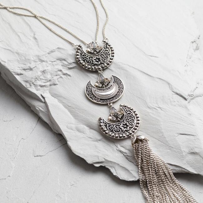 Silver Crescent and Tassel Necklace