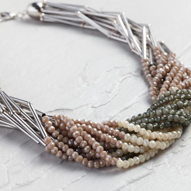Champagne and Gray Beaded Multi Strand Necklace