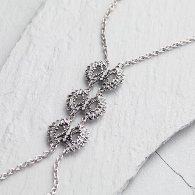 Antique Silver and Rhinestone Necklace