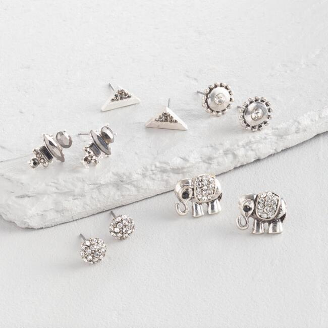 Silver and Hematite Stud Earrings Set of 5